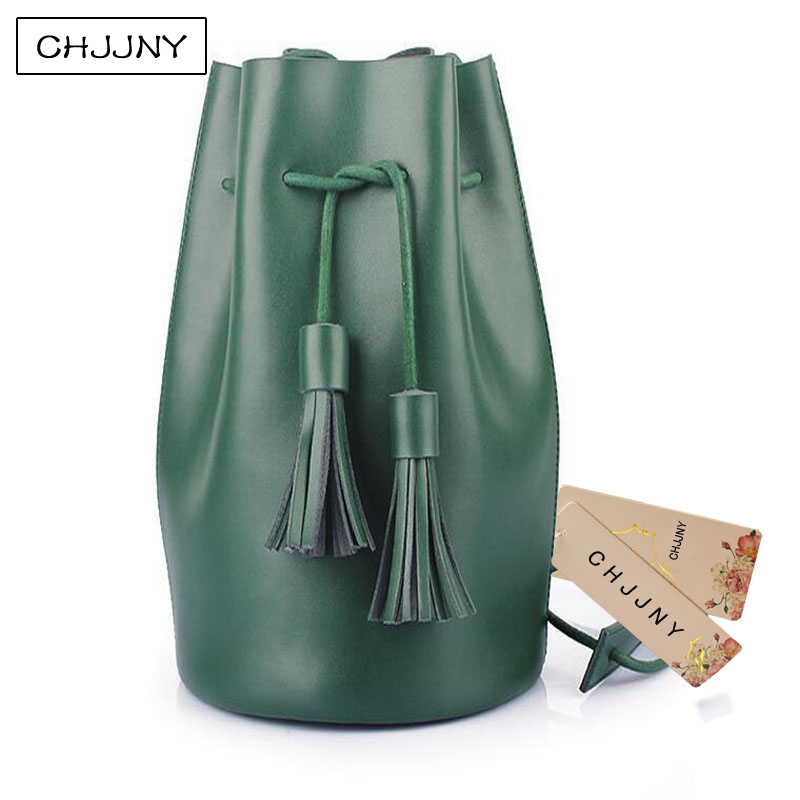 ФОТО CHJJNY simple 2017 newest style women genuine leather customized vintage bucket bags with tassel