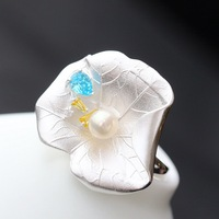 925 Sterling Silver Ring pearl retro lotus silver ring ring opening