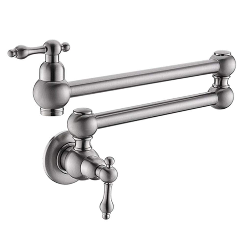 2018 Dual Holder Wall Mount Kitchen Faucet Kitchen Brass: Wall Mount Pot Filler Folding Tap Brass Chrome Stretchable
