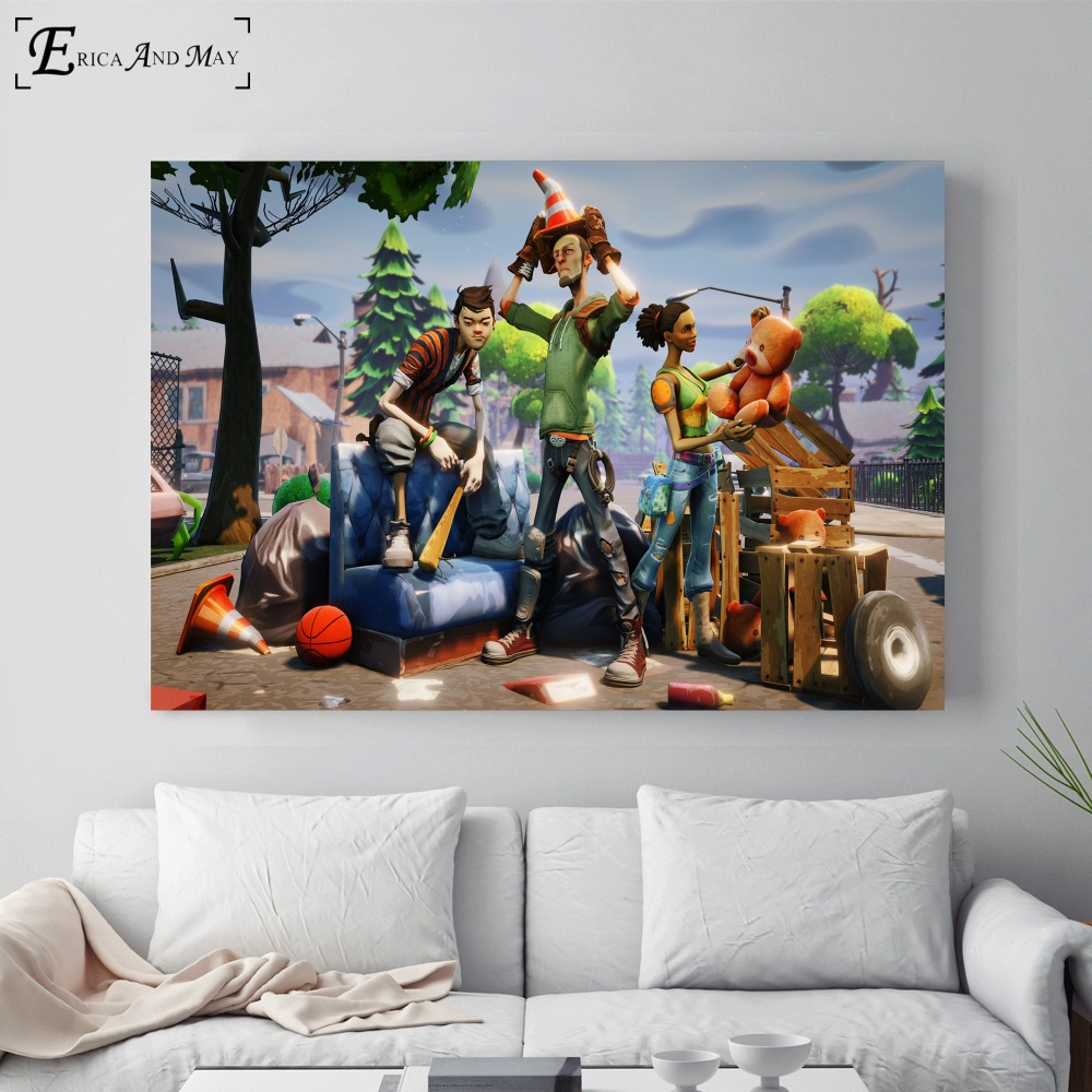 Fortnite 3d Battle Royale Game Cotton Canvas Art Print Painting Poster Wall Pictures Home Decoration Wall Decor No Frame