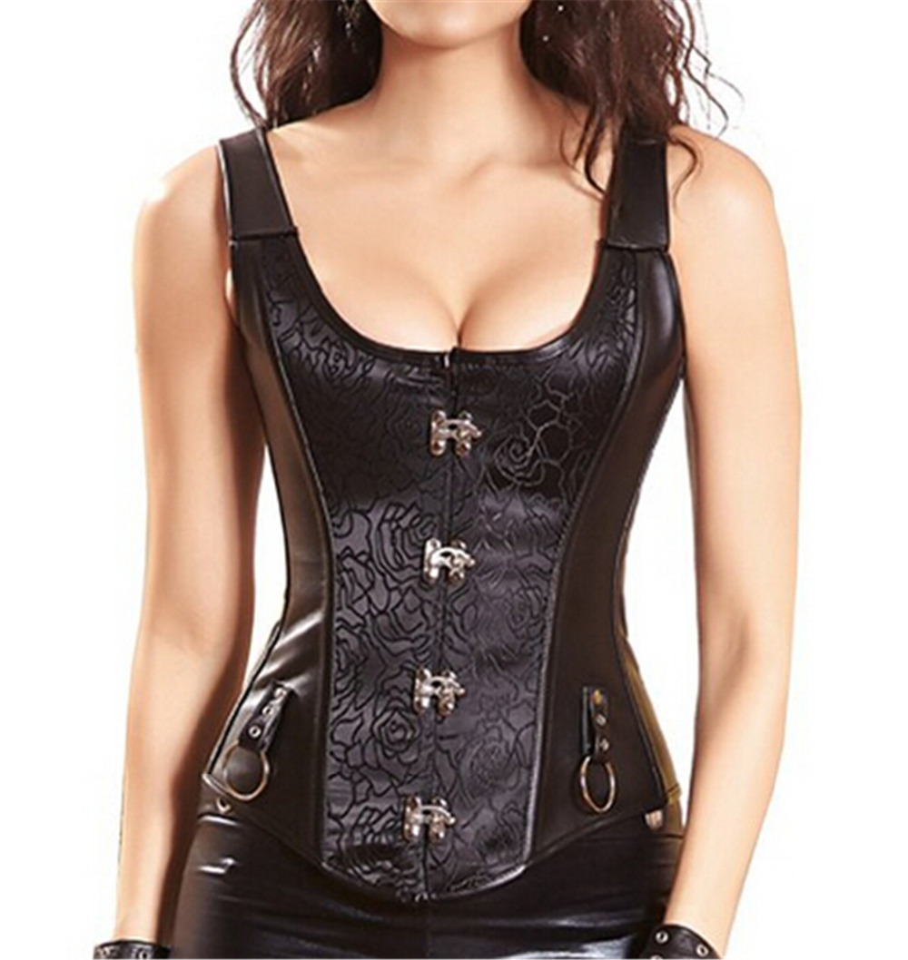 cd2967c828 Spiral Steel Boned Steampunk clothing PU Faux Leather Waist Trainer Corset  and Straps Vest Bustier women s hot Lingerie-in Bustiers   Corsets from  Women s ...
