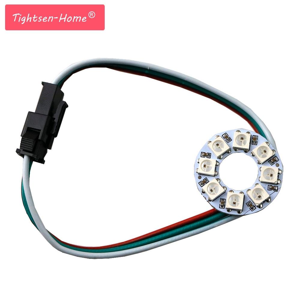 WS2812B Module Strip 8 Bits LEDs 5050 Rgb Individual Addressable Ring Round Led Pixel Lamp Light Board DC5V White/Black 8LEDS matek 8 bit ws2812b rgb 5050 highlight led for naze32 cc3d