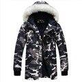 2016 Inverno nova impressão de alta qualidade da moda quente acolchoado-algodão personalidade fashion roupas de camuflagem dos homens jovens casaco casal