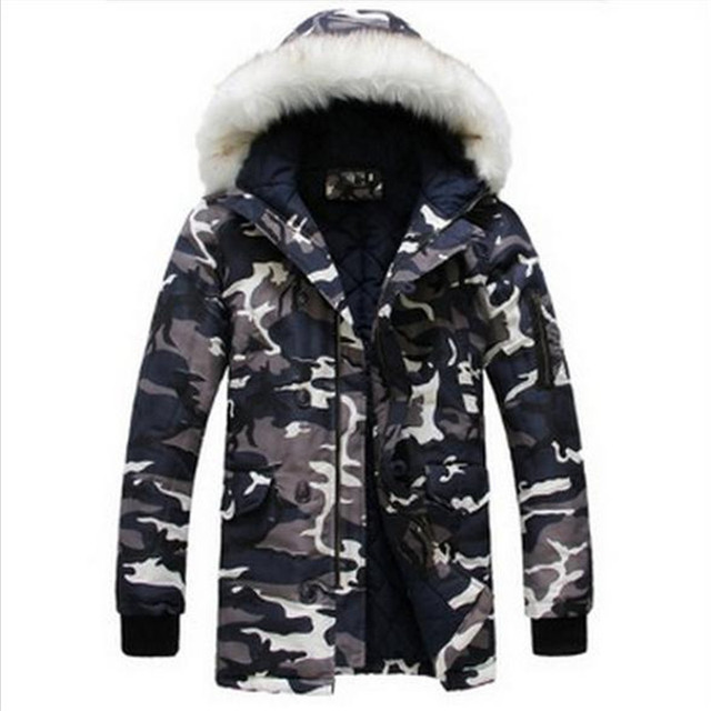 2016 Winter new hot high-quality fashion printing cotton-padded personality fashion camouflage clothing men's youth couple coat