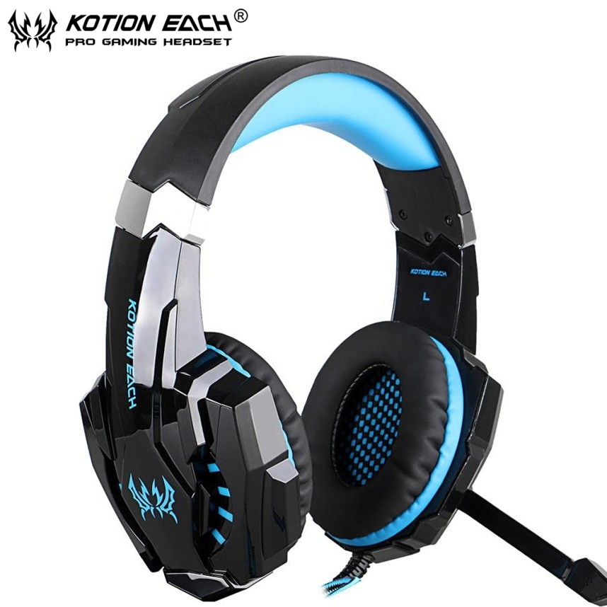 KOTION EACH G9000 3.5mm Gaming Headset Headband Game Headphones with Mic LED Light for PC Laptop Phones Phones/Xbox ONE/PS4 kotion each g9000 7 1 surround sound gaming headphone game stereo headset with mic led light headband for ps4 pc tablet phone