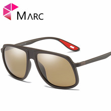 MARC New Fashion Men Sunglasses Polarized Square Shield Shaped TR90 Modern Glasses Matte Male Brown Lens Eyewear UV400 2019 1
