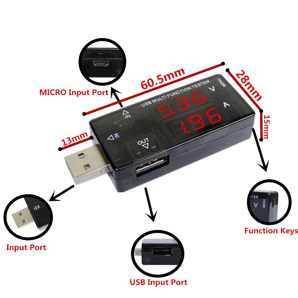 Inteligentna elektronika Cyfrowe USB Mobilne zasilanie Prąd Tester - Przyrządy pomiarowe - Zdjęcie 5