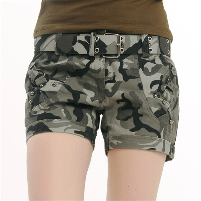 S-4XL 2016 Summer New Casual Fashion Military Mountaineering Camouflage Print Women Mini Shorts Plus Size