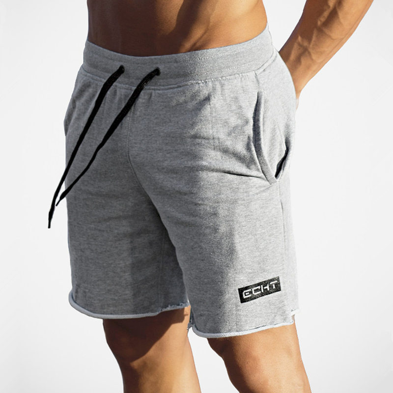 Men Running Sport Cotton Shorts Gym Fitness Workout Training Sportswear Male Short Pants Knee Length Beach Sweatpants Bottoms
