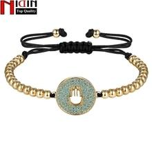 NIDIN Newest Palm Shape Chain Link Bracelet for Women Ladies Shining AAA Cubic Zircon Charm Handmade Jewelry Adjust Size