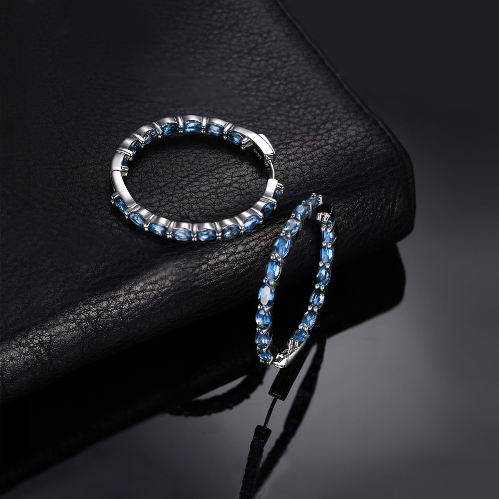Huge 13ct Genuine London Blue Topaz Hoop Earrings 925 Sterling Silver Earrings For Women Gemstones Earings Fashion Jewelry 2019 in Earrings from Jewelry Accessories