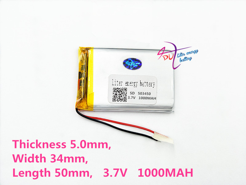 503450 3.7V 1000mah lithium-ion polymer battery MP3 MP4 GPS navigation intelligent water meter lithium batteries 3 7v lithium polymer lithium li polymer battery 584245 1100mah navigation gps mp4 mp5