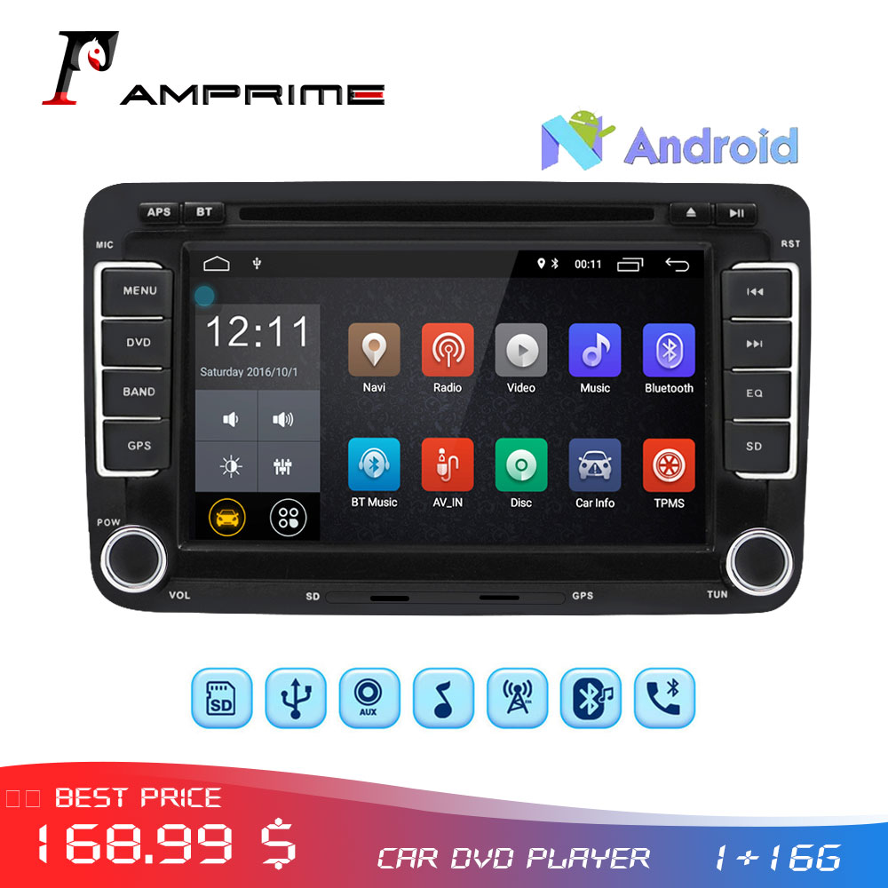 AMPrime 2 Din Car DVD Player Android Car Radio GPS Navigation Audio Stereo Multimedia player Autoradio For Golf 6/Golf 5/Passat
