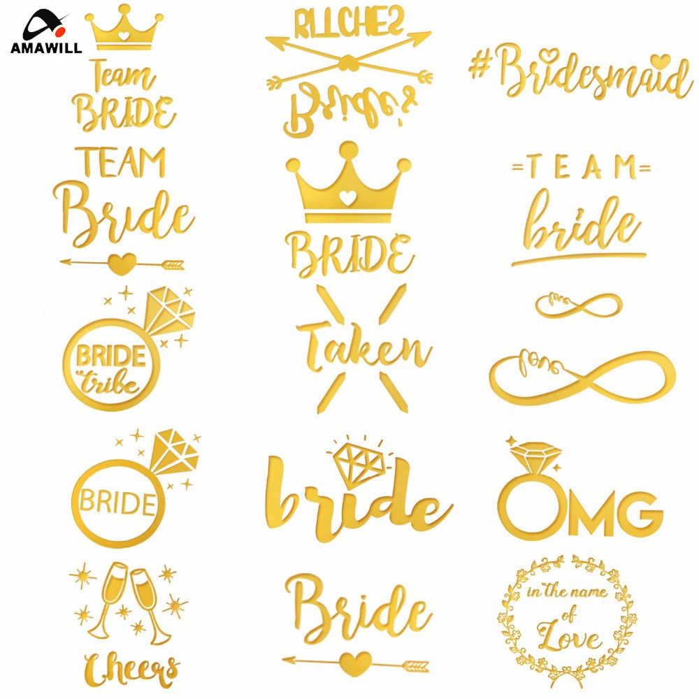 63eb43afc5 Amawill Bride Tribe Temporary Tattoos Bachelorette Party Team Bride Flash  Tattoos Bridesmaid Sticker Hens Party Wedding Decor 6D