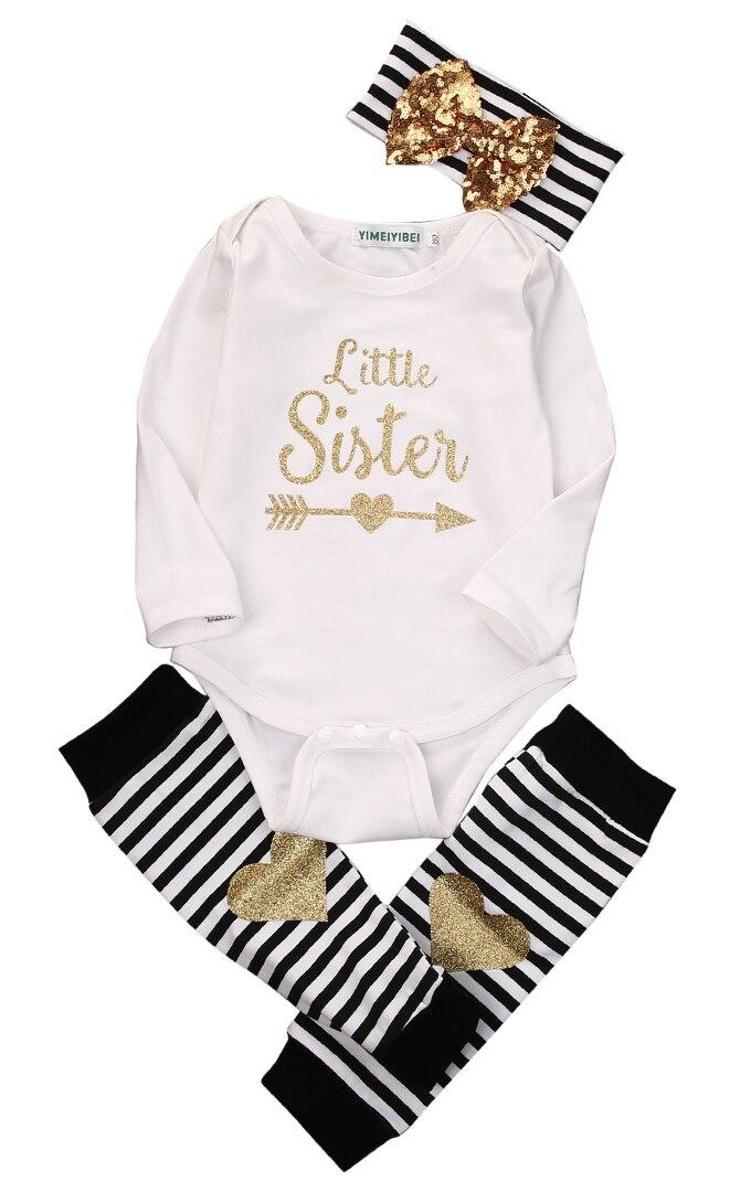 Nieuwste Collectie Van 3 Stks Set! Pasgeboren Baby Meisjes Jongens Wit Brief Lange Mouwen Bodysuit + Grote Gouden Boog Hoofdband + Warm Been Gestreepte Warmer