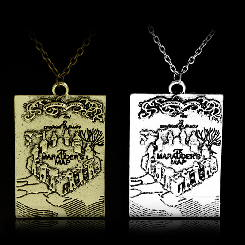 The Marauders Map I Solemnly Swear That I Am Up To No Good Pattern Necklace New Year Halloween Christmas Gift Hogwarts School