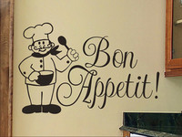 Kitchen Wall Decal Bon Appetit With Chef Kitchen Wall Art Vinyl Lettering Wall Sticker For Kitchen