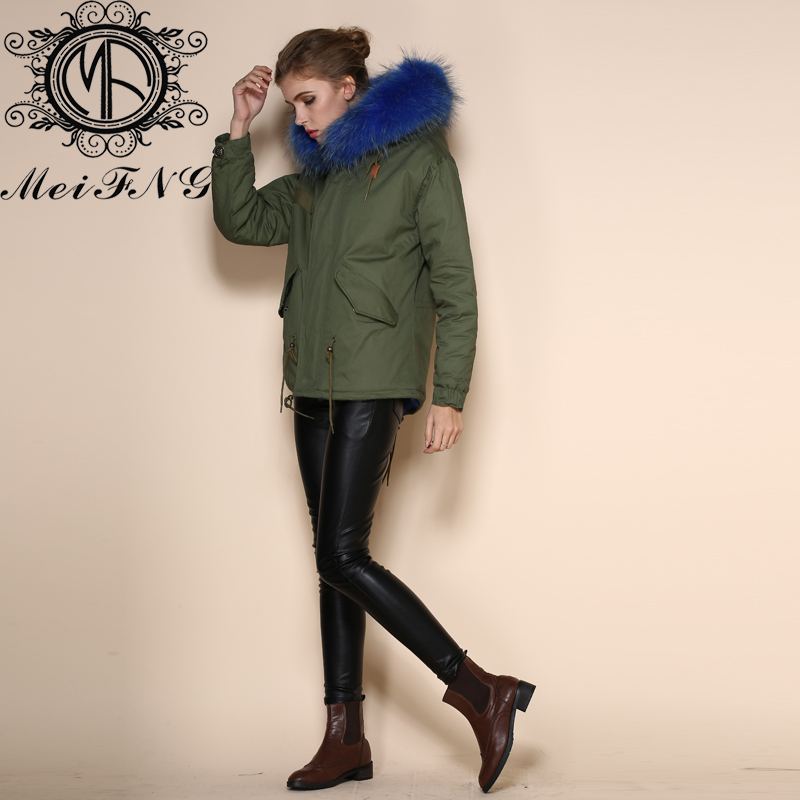 Latest Korean Styles short jackets parka Dark blue fox fur lining ...