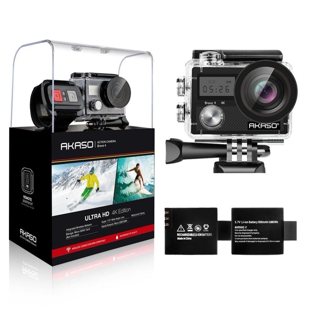"AKASO Brave 4 Action camera Ultra HD 4K WiFi 2.0"" 170D 20MP Underwater Waterproof Helmet Cam Camera Sport Cam"
