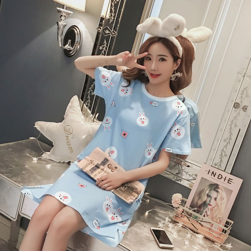 Summer Female Short Sleeve Nightdress Print Cartoon Cute Bear Rabbit O Neck Women Girls Sweet   Nightgowns     Sleepshirts