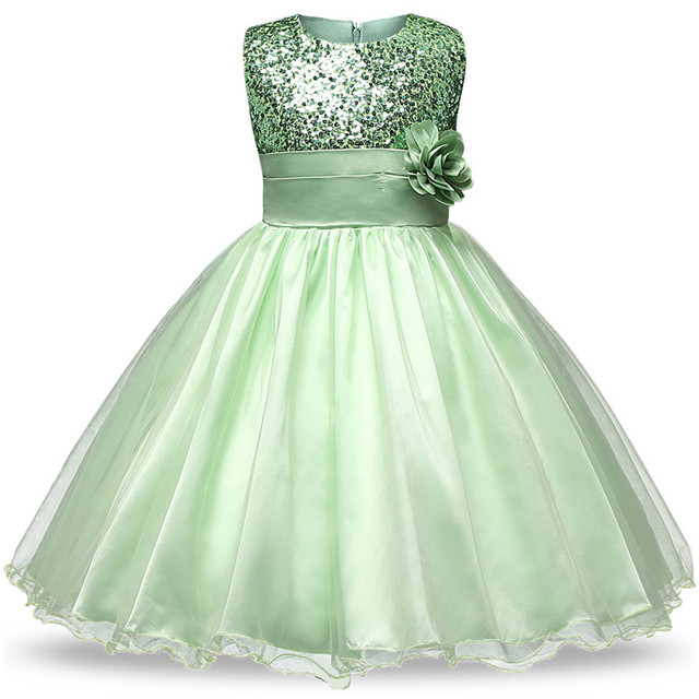 0583bd1daf8 Sequin Flower Girl Wedding Party Dress Kids Dresses for Girls Princess  Birthday Clothes Tutu Floral Dress Children Clothes 4-12T