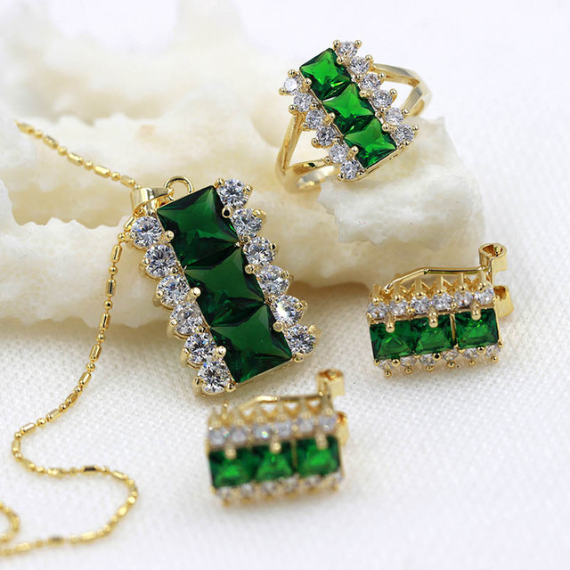 Trendy Gold Plated Green Austrian Crystal Jewelry Set With 3 Pcs Ring + Necklace + Eearrings for Wedding Engagement