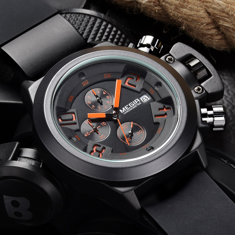 2016Unique design Top luxury brand Megir Men's watches Classical style Silicone band Chronograph Military Sport Quartz watch men hubot elegant classic men s watch dates calendar classical art carved craft design chronograph men sport watches relogios