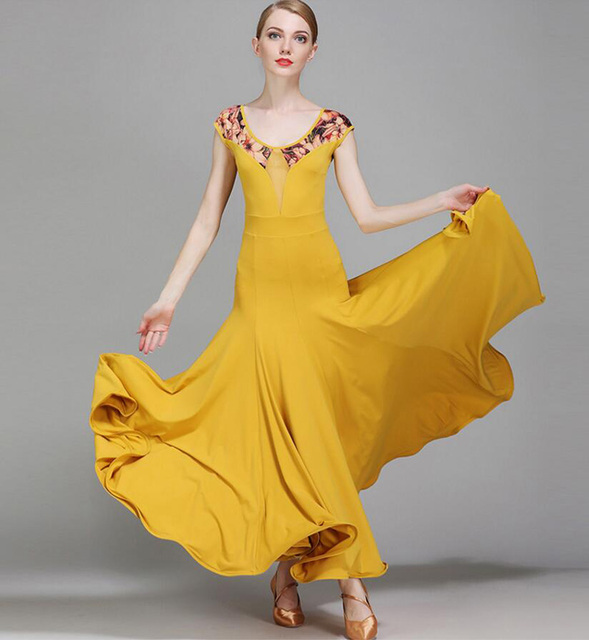 a63e89a62c20b Women Ballroom Dance Dresses High Quality Lycra Standard Dancing Wear Adult  Yellow Waltz Ballroom Competition Dance Dress