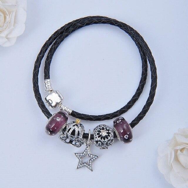 Два круга черный коёаный Браслет pandora Серебра 925 оригинал проложить звезда шарм diy аксессуары подарок приспосабливать браслет & браслет ювелирные изделия
