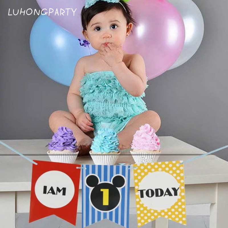 Boy Girl First Birthday Cardboard Mickey High Chair Flag Banner Baby One Year Old Birthday Hanging Decoration LUHONGPARTY