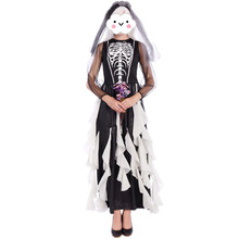Vampire Zombie Cosplay Black Ghost Bride Costumes Witch Princess Mesh Dress and Head Wear Set Halloween Costumes For Women