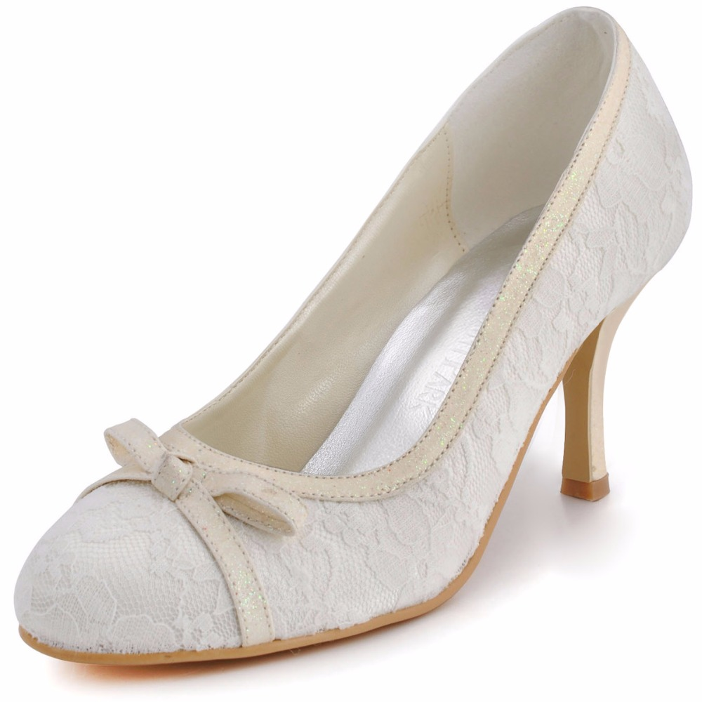 Woman Shoes Ivory EL-029 White Closed Toe Bow High Heel Lace Ladies Wedding  Bridal Pumps Women s wedding Shoes bc606376a3de
