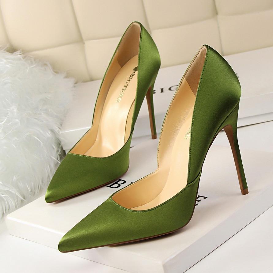 BIGTREE Brand 11cm Female Extreme High Heels Pumps Women Satin Classic Basic Heels Sexy Escarpins Green Khaki Silk Black Shoes
