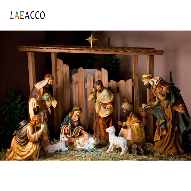 Laeacco Christian Jesus Nativity Scene Baby Christmas Photography Backgrounds Customized Photographic Backdrops For Photo Studio