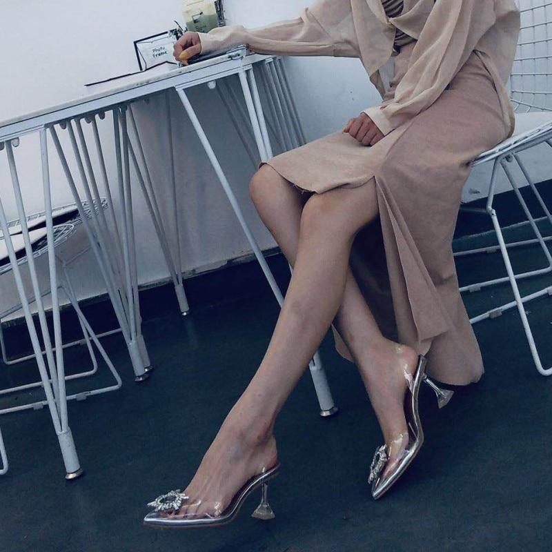Star style Women sandals Elegant Pointed toe Rhinestones High heels Wedding Shoes Crystal Clear heeled Slingback Pumps Sandals