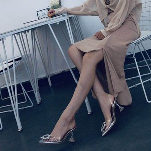 Image 2 - Big size 44 45 Women Pumps Elegant Pointed toe Rhinestones High heels Wedding Shoes Crystal Clear heeled Slingback Pumps Sandals
