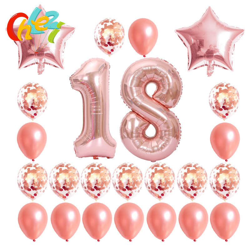 Happy Birthday Balloons Confetti Rose Gold Silver Balloon Party Decorations and Supplies