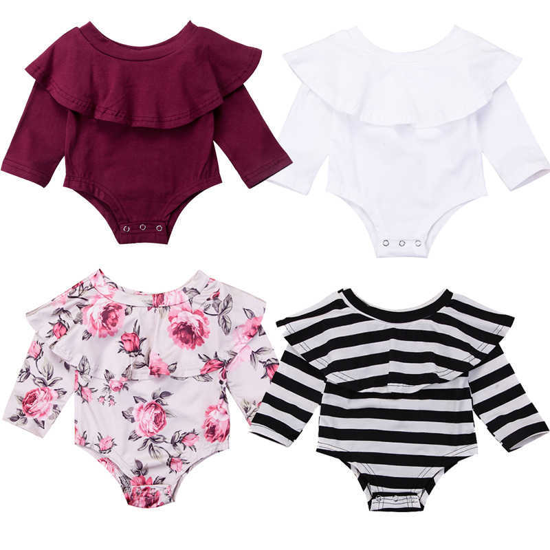 4911a2b6f New Fashion Infant Baby Girl Long Sleeve Off shoulder Floral Striped Wine  Red Cotton Bodysuit Jumpsuit Clothes Outfits Sunsuit