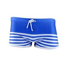 Funfeliz Men Swimwear 2018 Brand New Spandex Striped Swimming Trunk for Teenage Boy Shorts Swimsuit Beachwear