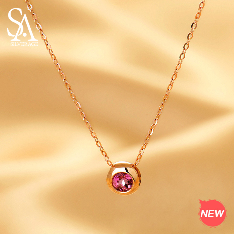 SA SILVERAGE 18K Rose Gold Round Ball Pendant Chain Link Necklaces Red Natural Jasper Jewelry for
