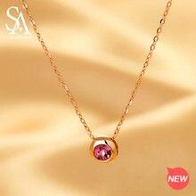 ec71e15f174a SA SILVERAGE 18 K oro rosa bola redonda colgante cadena enlace collares rojo  jaspe Natural de la joyería de oro para las mujeres.