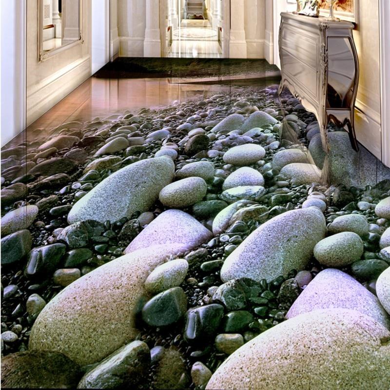 ФОТО Free Shipping Seaside pebbles pink clouds 3D flooring painting bathroom kitchen bedroom hallway floor wallpaper mural