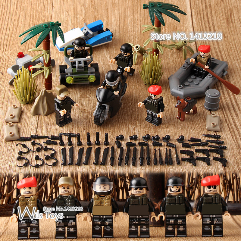 Jungle SWAT World War 2 Military Army Gun Weapon Soldier Police Building Blocks Bricks Figures Boy Educational Toy Children Gift xinlexin 317p 4in1 military boys blocks soldier war weapon cannon dog bricks building blocks sets swat classic toys for children