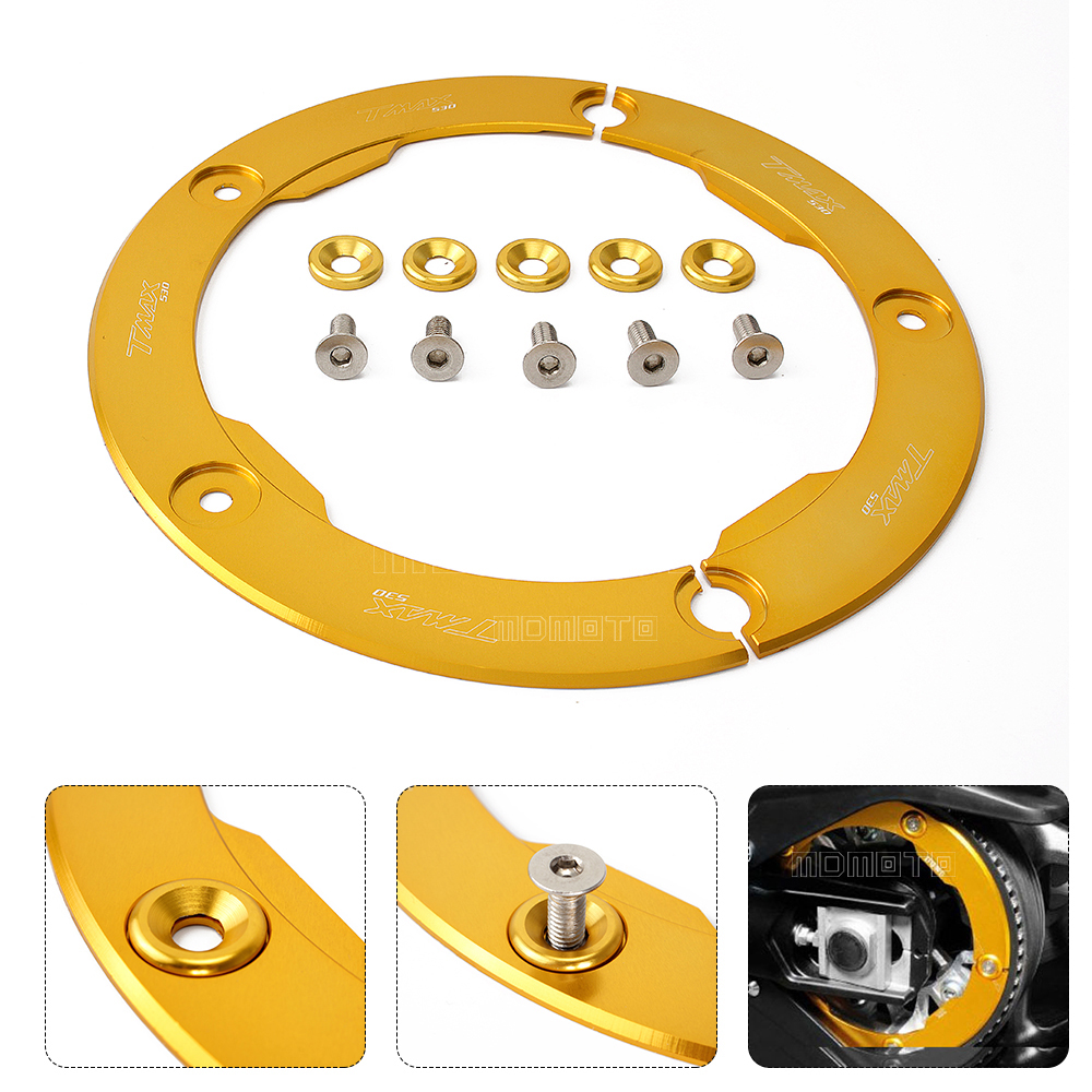 Hot Sale gold Motorcycle Parts CNC Aluminum Transmission Belt Pulley Protective Cover For Yamaha T MAX 530 2012-2015 accessories hot sale hot sale car seat belts certificate of design patent seat belt for pregnant women care belly belt drive maternity saf