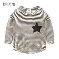 Casual Striped Printed Star Long Sleeve Top Tees, Korean Baby Boys Girls Clothing O-neck Star Bottoming Shirts Spring Autumn Tee