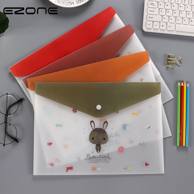 EZONE 1PC Cartoon Transparent Frosted File Bag Button Design Paper Organized Bag File Cover Office File Bag School Supply Lovely