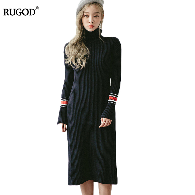 RUGOD New Winter Warm Long Sweater Dress Women Turtleneck Long Sleeve SStriped Knitted Dress Female Thick Slim Pullover Vestidos 2017 winter women jacket new fashion thick warm medium long down cotton coat long sleeve slim big yards female parkas ladies269