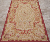 Free shipping 8'x10' Aubusson rugs handmade woolen carpets classical red field aubusson rugs for home decoration bedrooom rugs