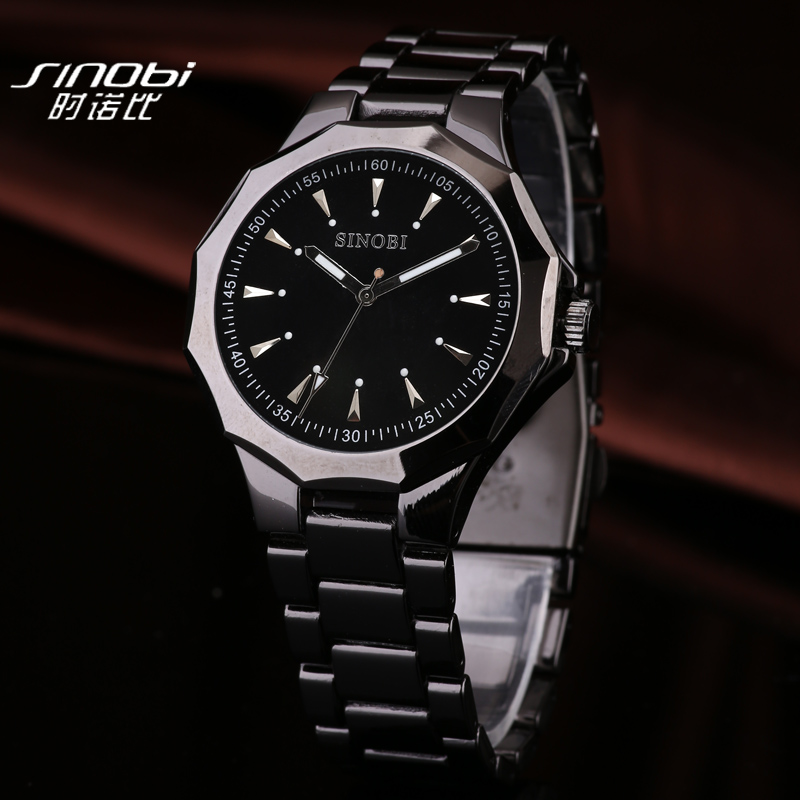 SINOBI Watches Fashion Full Steel Luxury Watch Men Watch Waterproof Men's Watch Clock saat relogio masculino erkek kol saati