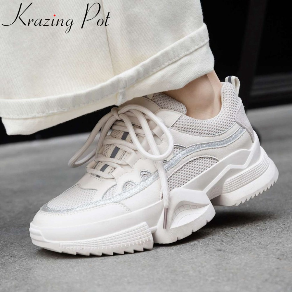 Well ventilated mesh concise style natural leather med bottom lace up round toe lace up sneakers